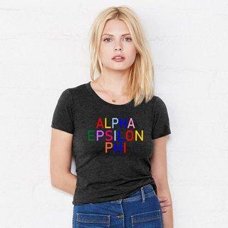 Alpha Epsilon Phi Rainbow Triblend Short Sleeve Tee