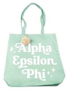 Alpha Epsilon Phi Retro Pom Pom Tote Bag