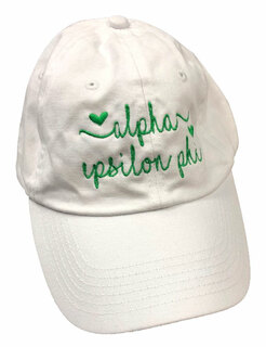 Alpha Epsilon Phi Script Hearts Ball Cap