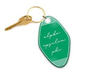 Alpha Epsilon Phi Script Motel Keychain