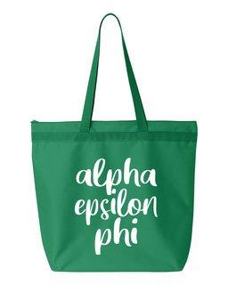 Alpha Epsilon Phi Script Tote Bag