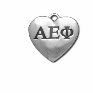 Alpha Epsilon Phi Silver Greek Heart Charm - CLOSEOUT