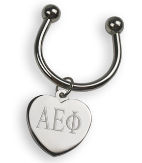 Alpha Epsilon Phi Silver Heart Keyring