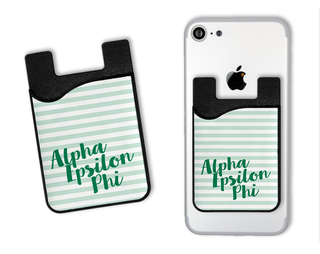 Alpha Epsilon Phi Sorority Stripes Caddy Phone Wallet