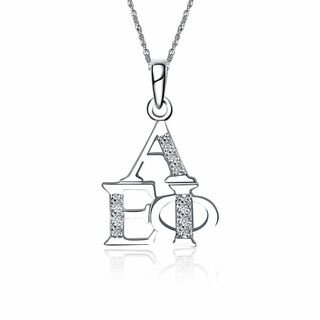 Alpha Epsilon Phi Stacked Silver Lavalier