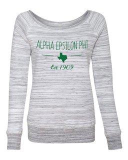 Alpha Epsilon Phi State Sorority Wideneck Crew Sweatshirt