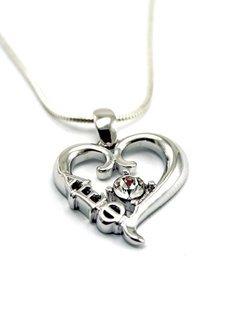 Alpha Epsilon Phi Sterling Silver Heart Pendant with Swarovski Clear Crystal