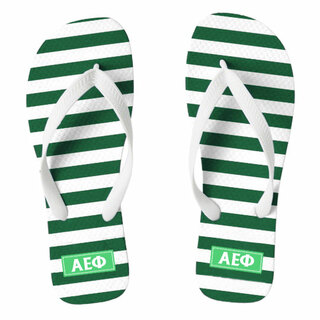 Alpha Epsilon Phi Striped Flip Flops