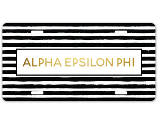 Alpha Epsilon Phi Striped Gold License Plate