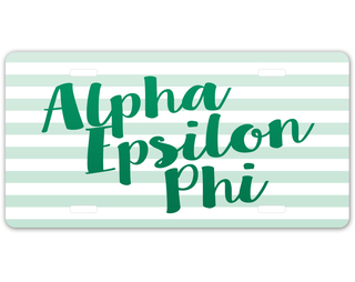 Alpha Epsilon Phi Striped License Plate