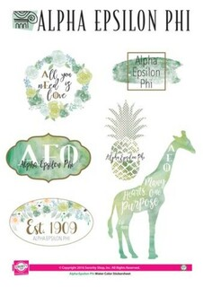 Alpha Epsilon Phi Water Color Stickers