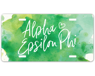 Alpha Epsilon Phi Watercolor Script License Plate