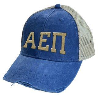 Alpha Epsilon Pi Distressed Trucker Hat