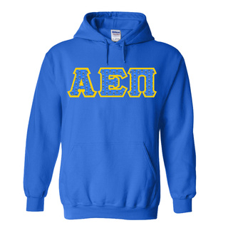Alpha Epsilon Pi Fraternity Crest - Shield Twill Letter Hooded Sweatshirt