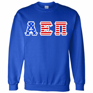 Alpha Epsilon Pi Greek Letter American Flag Crewneck