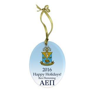 Alpha Epsilon Pi Holiday Color Crest - Shield Glass Ornament