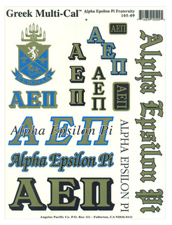 Alpha Epsilon Pi Multi Greek Decal Sticker Sheet