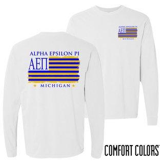 Alpha Epsilon Pi Stripes Long Sleeve T-shirt - Comfort Colors