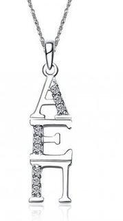 Alpha Epsilon Pi Sweet Heart Vertical Silver Lavalier
