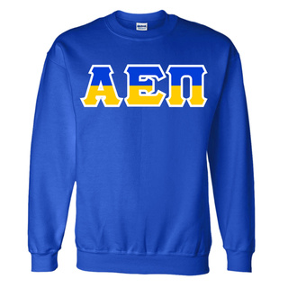 Alpha Epsilon Pi Two Tone Greek Lettered Crewneck Sweatshirt