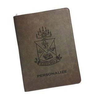 Alpha Epsilon Pi Zipper Leatherette Portfolio with Notepad