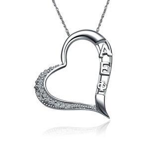 Alpha Espilon Phi Embedded Heart Silver  Lavaliere