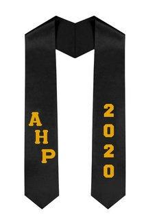 Alpha Eta Rho Greek Diagonal Lettered Graduation Sash Stole With Year