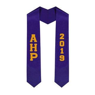 Alpha Eta Rho Greek Lettered Graduation Sash Stole With Year - Best Value
