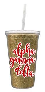Alpha Gamma Delta 16 OZ Sorority Newport Glitter Tumbler