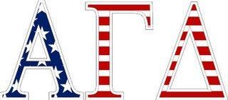 "Alpha Gamma Delta American Flag Greek Letter Sticker - 2.5"" Tall"