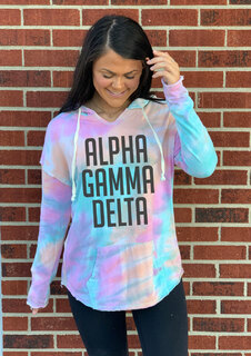 Alpha Gamma Delta Angel Terry Rainbow Sherbet Nora Pullover