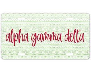 Alpha Gamma Delta Aztec License Plate