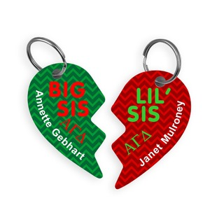 Alpha Gamma Delta Big & Little Heart Halve Key Chains (2)