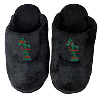Alpha Gamma Delta Black Solid Letter Slipper