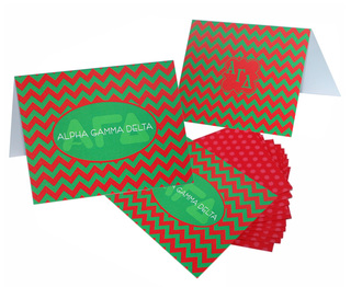 Alpha Gamma Delta Chevron Note Cards w/ Envelopes (10)