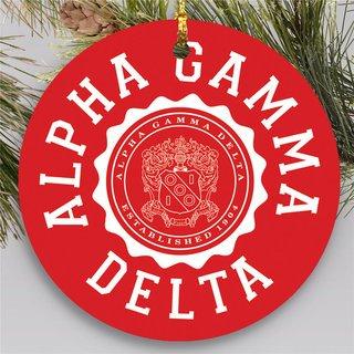 Alpha Gamma Delta Round Christmas Shield Ornament