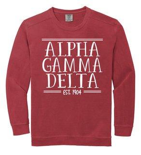 Alpha Gamma Delta Comfort Colors Custom Crewneck Sweatshirt