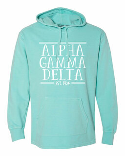 Alpha Gamma Delta Comfort Colors Terry Scuba Neck Custom Hooded Pullover