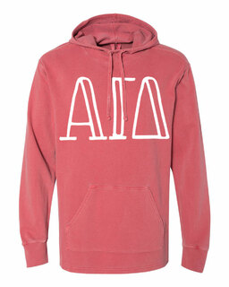 Alpha Gamma Delta Comfort Colors - Terry Scuba Neck Greek Hooded Pullover