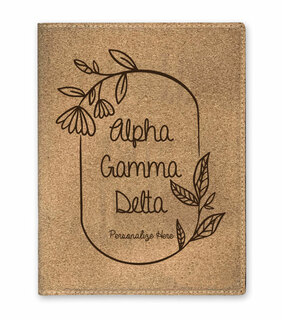 Alpha Gamma Delta Cork Portfolio with Notepad