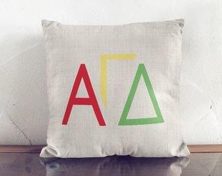 Alpha Gamma Delta Letters Colored Pillow