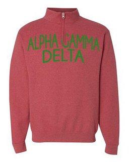 Alpha Gamma Delta Over Zipper Quarter Zipper Sweatshirt