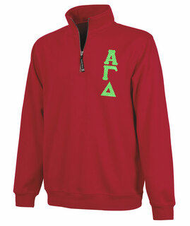 Alpha Gamma Delta Crosswind Quarter Zip Twill Lettered Sweatshirt