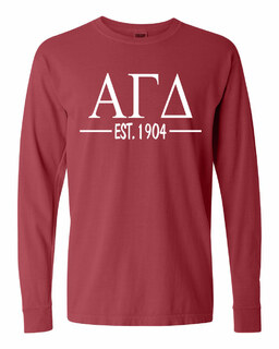 Alpha Gamma Delta Custom Greek Lettered Long Sleeve T-Shirt - Comfort Colors
