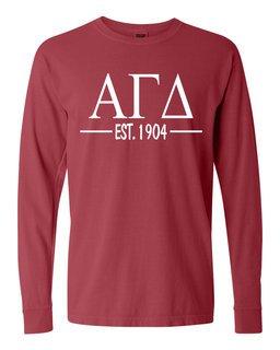 Alpha Gamma Delta Custom Greek Lettered Long Sleeve T-Shirt - Comfort Colors