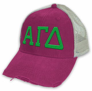 Alpha Gamma Delta Distressed Trucker Hat