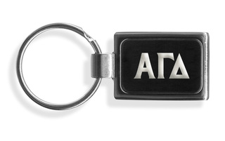 Alpha Gamma Delta Engraved Chrome Keychains