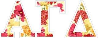 "Alpha Gamma Delta Floral Greek Letter Sticker - 2.5"" Tall"