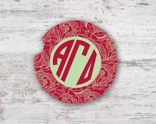 Alpha Gamma Delta Floral Monogram Sandstone Car Cup Holder Coaster