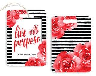Alpha Gamma Delta Floral Motto Luggage Tag